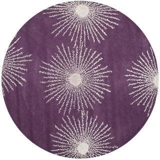 Safavieh Hand-made Soho Burst Purple/ Ivory Wool Rug (6' Round)