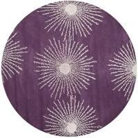 Safavieh Handmade Soho Burst Purple/ Ivory Wool Rug - 6' Round