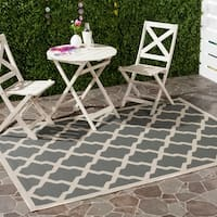 Safavieh Courtyard Moroccan Trellis Anthracite/ Beige Indoor/ Outdoor Rug - 6'7 x 9'6