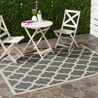 Safavieh Courtyard Moroccan Trellis Anthracite/ Beige Indoor/ Outdoor Rug - 9' x 12'