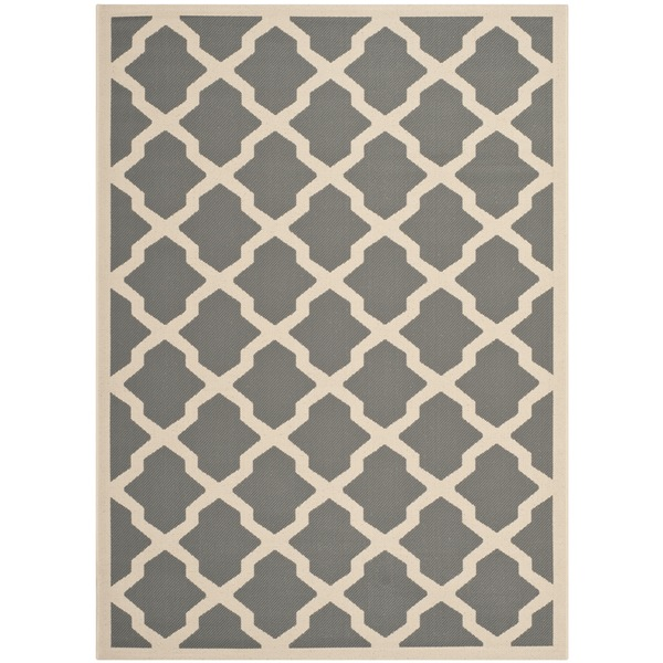 Safavieh Courtyard Moroccan Trellis Anthracite/ Beige Indoor/ Outdoor Rug (9' x 12')