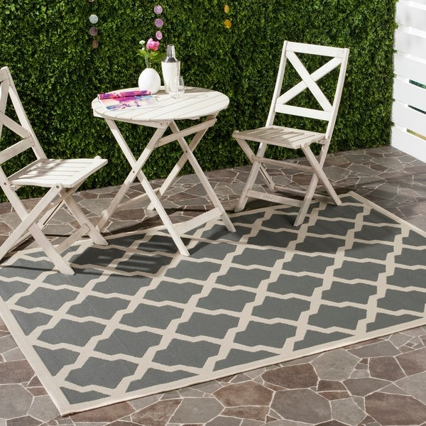 Safavieh Courtyard Moroccan Trellis Anthracite/ Beige Indoor/ Outdoor Rug - 8' x 11'