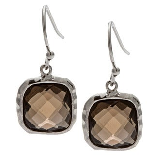 La Preciosa Sterling Silver Smokey Quartz Dangling Earrings