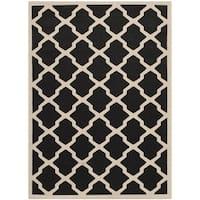 """Safavieh Courtyard Moroccan Trellis Black/ Beige Indoor/ Outdoor Rug - 5'3"""" x 7'7"""""""