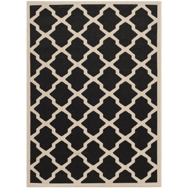 Safavieh Courtyard Moroccan Trellis Black/ Beige Indoor/ Outdoor Rug (6'7 x 9'6)