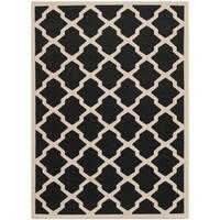 Safavieh Courtyard Moroccan Trellis Black/ Beige Indoor/ Outdoor Rug - 8' X 11'