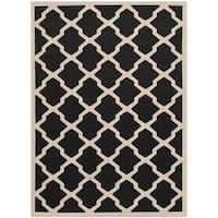 Safavieh Courtyard Moroccan Trellis Black/ Beige Indoor/ Outdoor Rug - 9' x 12'