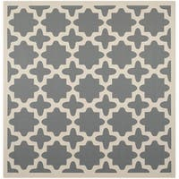 Safavieh Courtyard All-Weather Anthracite/ Beige Indoor/ Outdoor Rug - 5'3 Square