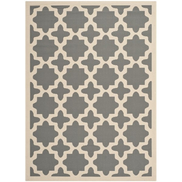 Safavieh Courtyard All-Weather Anthracite/ Beige Indoor/ Outdoor Rug - 8' x 11'