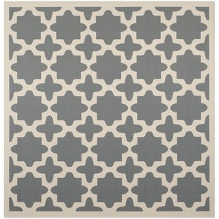 "Safavieh Courtyard All-Weather Anthracite/ Beige Indoor/ Outdoor Rug (7'10"" Square)"