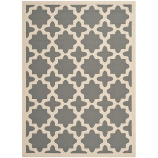 Safavieh Courtyard All-Weather Anthracite/ Beige Indoor/ Outdoor Rug (9' x 12')