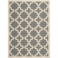 Safavieh Courtyard All-Weather Anthracite/ Beige Indoor/ Outdoor Rug - 9' x 12'