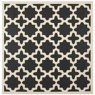 Safavieh Courtyard All-Weather Black/ Beige Indoor/ Outdoor Rug (5'3 Square)