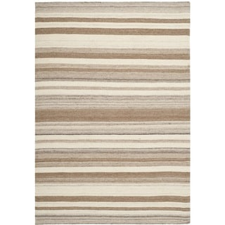 Safavieh Hand-woven Moroccan Reversible Dhurrie Natural Wool Rug (9' x 12')