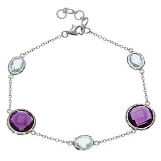 La Preciosa Sterling Silver Amethyst/ Blue Topaz Bracelet