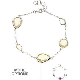 La Preciosa Sterling Silver Gemstone Link Bracelet