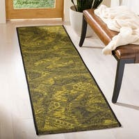 Safavieh Palazzo Black/ Green Overdyed Chenille Runner Rug - 2' x 7'3
