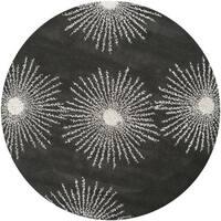 Safavieh Hand-made Soho Burst Charcoal/ Ivory Wool Rug - 6'