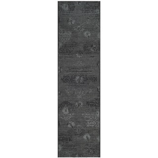 Safavieh Palazzo Black/ Grey Over-dyed Chenille Rug (2' x 7'3)