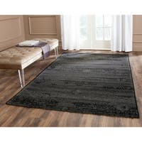 Safavieh Palazzo Black/ Grey Medallion Chenille Area Rug - 8' x 11'