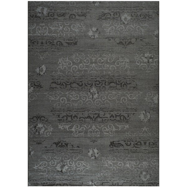 Safavieh Palazzo Black/ Grey Over-dyed Chenille Rug (8' x 11')