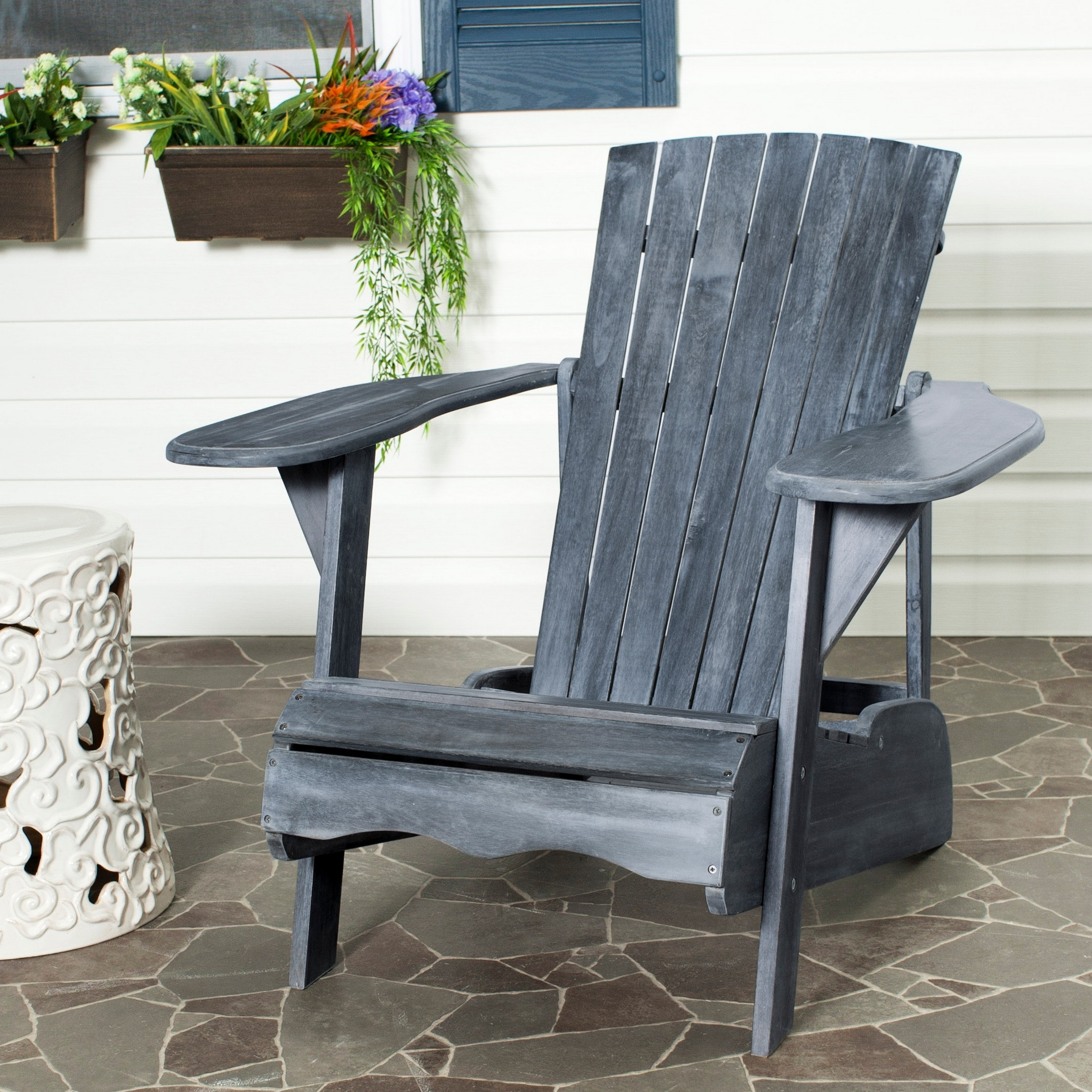 Terrific Safavieh Outdoor Living Mopani Adirondack Ash Grey Acacia Wood Chair Gmtry Best Dining Table And Chair Ideas Images Gmtryco