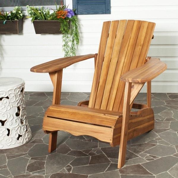 Beautiful Safavieh Outdoor Living Mopani Adirondack Natural Acacia Wood Chair