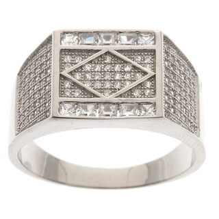 La Preciosa Sterling Silver Men's Pave Cubic Zirconia Ring (2 options available)