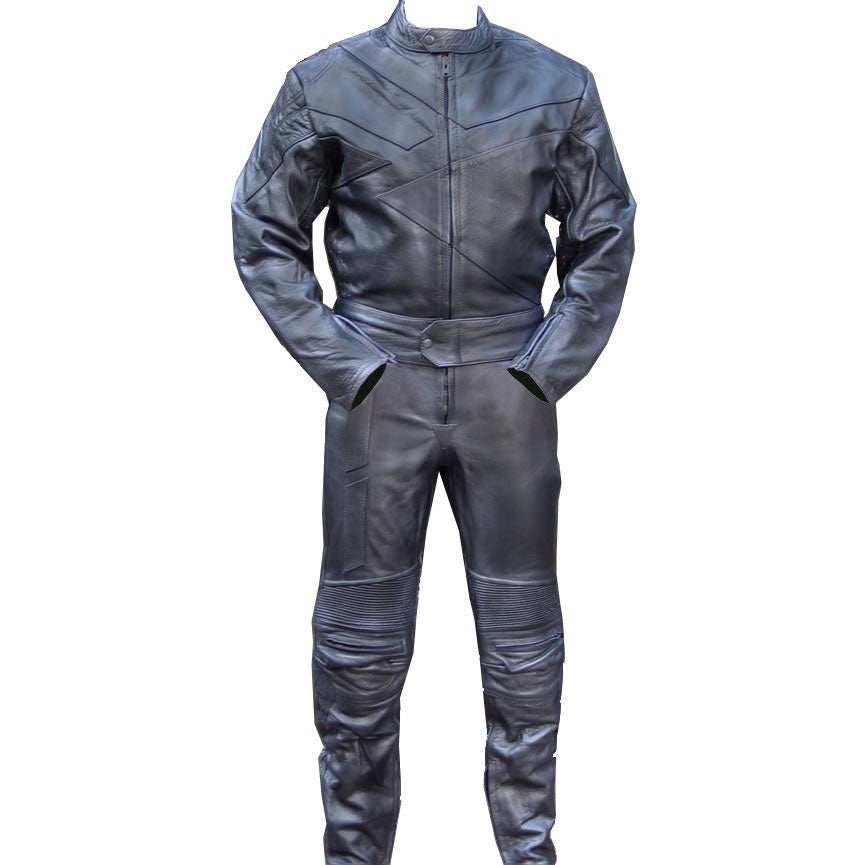 Perrini 2pc Motorcycle Riding Racing Track Suit w//padding All Leather Drag Suit Black