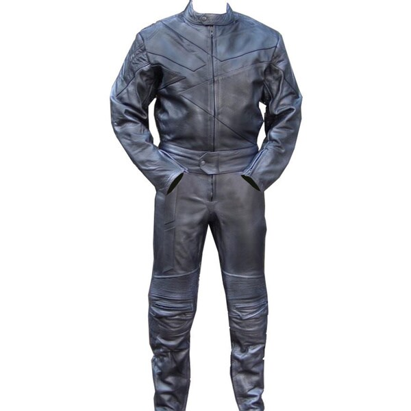 2-piece Motorcycle Riding Racing Track Suit/Padding All-Leather Drag Suit