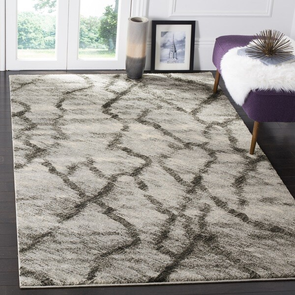Safavieh Retro Modern Abstract Light Grey/ Black Distressed Rug (8' x 10')