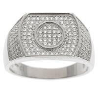 La Preciosa Sterling Silver Men's Pave Cubic Zirconia Ring