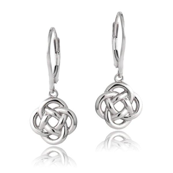 Mondevio Sterling Silver Love Knot Dangle Leverback Earrings