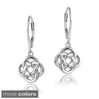 Mondevio Sterling Silver Love Knot Dangle Leverback Earrings|https://ak1.ostkcdn.com/images/products/8120021/P15467022.jpg?impolicy=medium