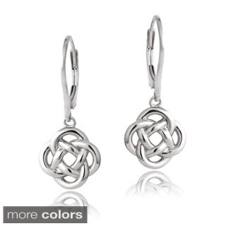 Mondevio Sterling Silver Love Knot Dangle Leverback Earrings