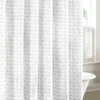 Laura Ashley Venetia Grey Cotton Shower Curtain