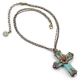 Sweet Romance Southwest Turquoise Gothic Cross Pendant Necklace