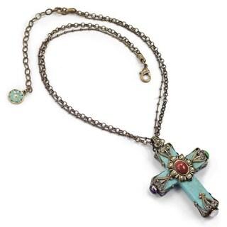 Sweet Romance Southwest Turquoise Gothic Cross Pendant Necklace