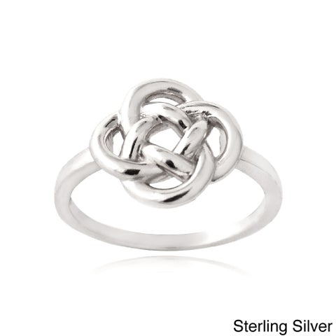 Mondevio Sterling Silver or Gold Overlay Love Knot Flower Ring