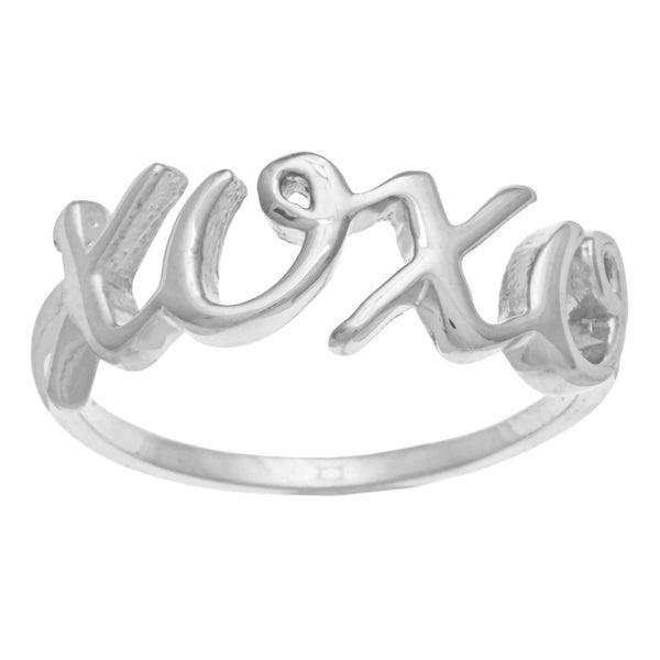 La Preciosa Sterling Silver 'XOXO' Ring
