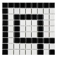 SomerTile 8x8-inch Victorian Greek Key Matte White and Black Corner Porcelain Mosaic Floor and Wall Tile (4 tiles)