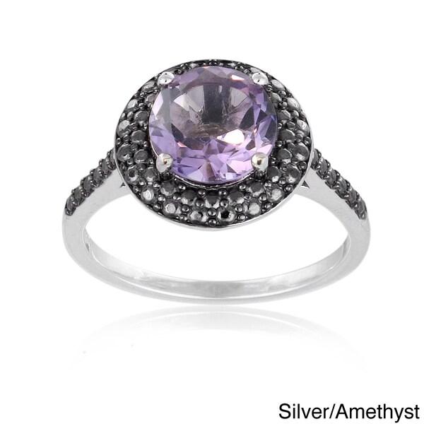 Glitzy Rocks Gold Overlay/ Silver Gemstone and Black Diamond Accent Ring