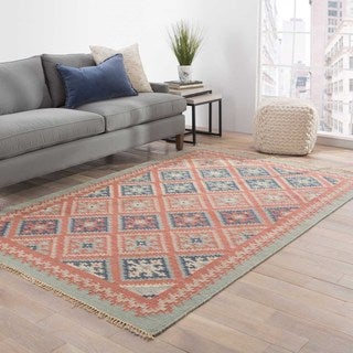 Kaveh Handmade Geometric Red/ Blue Area Rug (5' X 8')