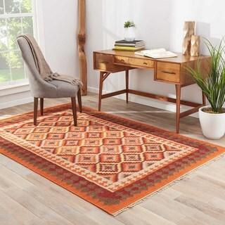 Kimana Handmade Geometric Orange/ Red Area Rug (4' X 6') - 4' x 6'