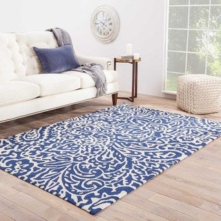 Hand-hooked Indoor/ Outdoor Abstract Pattern Blue Rug (2' x 3')