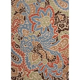 Hand-hooked Indoor/ Outdoor Abstract Pattern Multi-colored Rug (9' x 12')