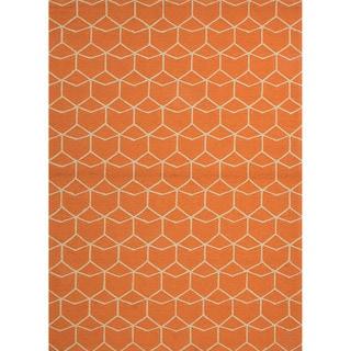 Finbar Indoor/ Outdoor Geometric Orange/ Cream Area Rug (9' X 12')