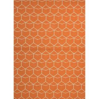 "Finbar Indoor/ Outdoor Geometric Orange/ Cream Area Rug (7'6"" x 9'6"")"
