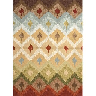 Hand-hooked Indoor/ Outdoor Abstract Pattern Multi-colored Rug (2' x 3')