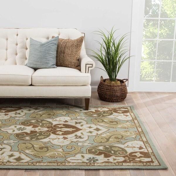 Gatlin Indoor/ Outdoor Floral Blue/ Brown Area Rug (9' x 12')